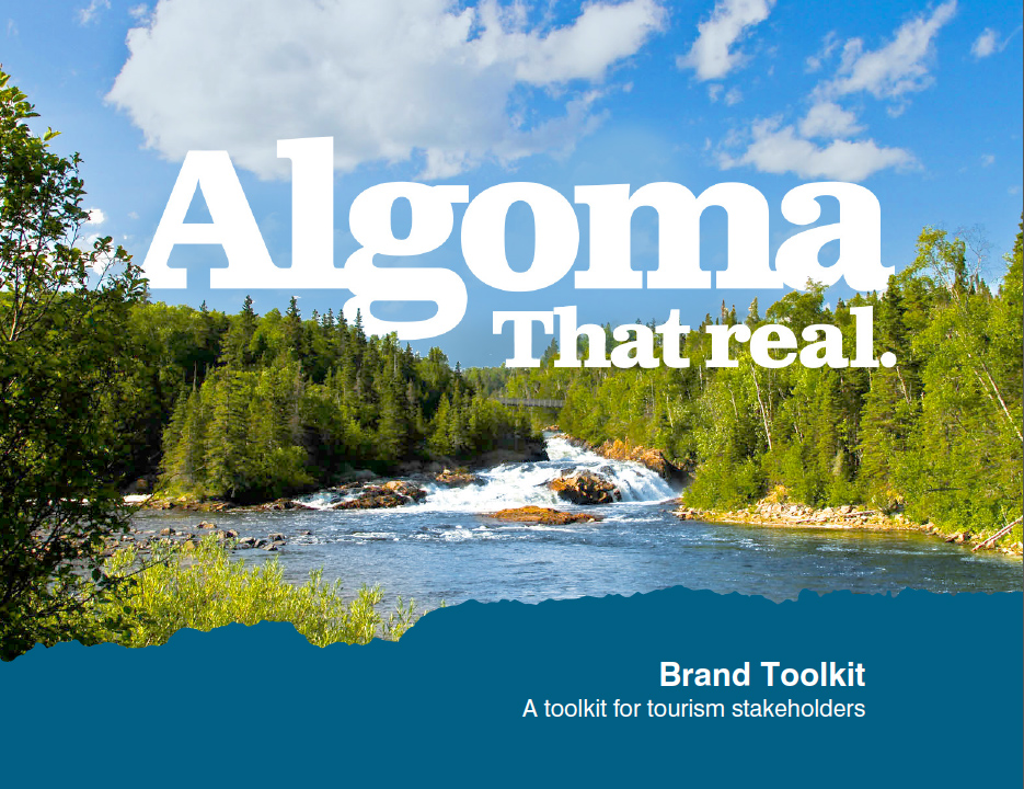 """""""Algoma That Real"""" text overlay river image"""